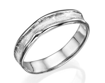 Wedding Bands For Men 5mm Rugged Center White Gold Men Wedding Band, White Gold Ring, Custom Made, Rugged Wedding Band for Men