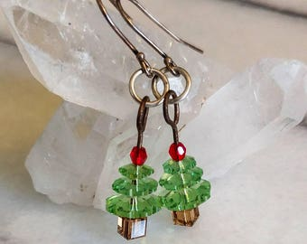 Christmas Tree Earrings - Swarovski Crystal Earrings