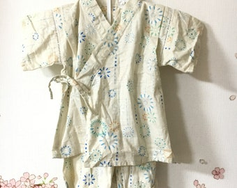 Baby Toddler Kimono, Cream Fireworks Design, Baby Kimono, Child Kimono, Baby Gifts, Baby Jinbei, Photo Prop Idea, Ninja Outfit, Kawaii
