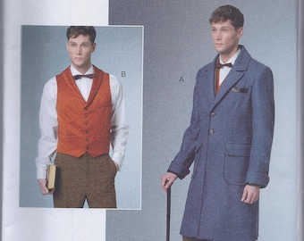 Butterick 6502 Men's Early 20th Century Edwardian Coat Vest UNCUT Sewing Pattern