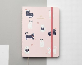 Cats Pink Gold Foil Personalized Notebook/Sketchbook