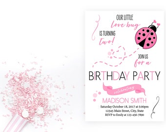 Lady Bug Baby Shower Invitation - Lady Bug Invitation - Little Love Bug - Lady Bug Valentine Shower - Pink and Black - Printable