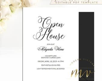 Open house invite etsy open house invitation template 5x7 editable printable invite black calligraphy minimal housewarming stopboris Gallery
