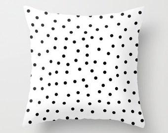 Polka Dot Pillow Cover, Black and White Velvet or Canvas Cushion Cover, 18x18 22x22 Pillow Set, Kids Pillows, Nursery Decor, Kids Room Decor