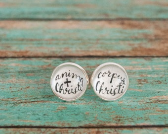 Catholic First Communion Gift, Anima Christi Latin Body of Christ Stud Earrings, Unusual First Communion Presents, Gift from Godparent