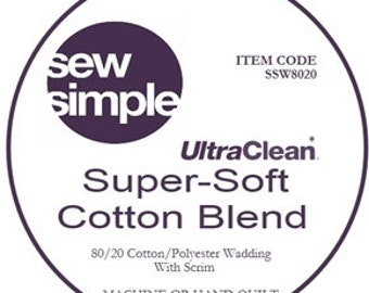 Wadding, quilt wadding, 80/20 Cotton blend super soft, Sew Simple 124 inches wide, cotton wadding, quilt batting, extra wide