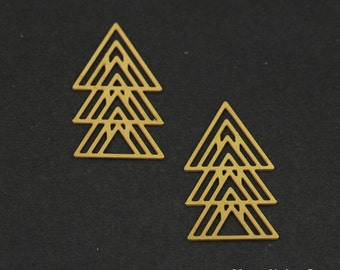 Exclusive - 8pcs Raw Brass Geometry Triangle Charm / Pendant, Fit For Necklace, Earring, Brooch - TG123