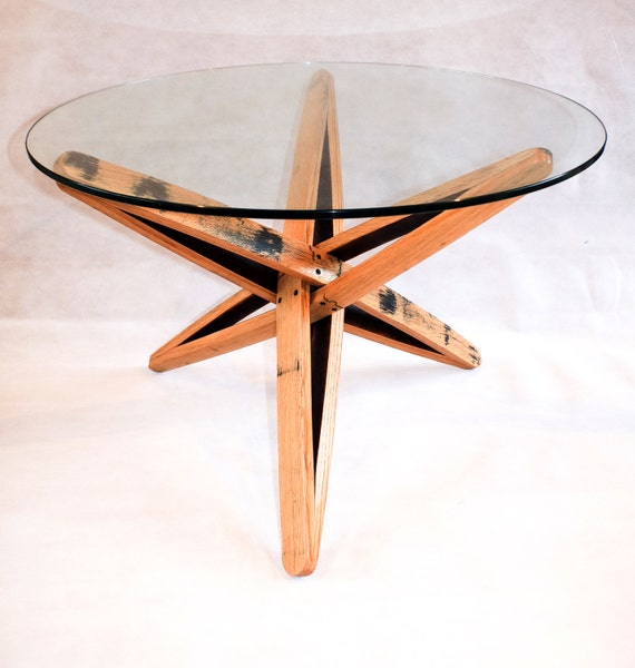 Oak Whisky Barrel Stave Coffee Table With Glass Top