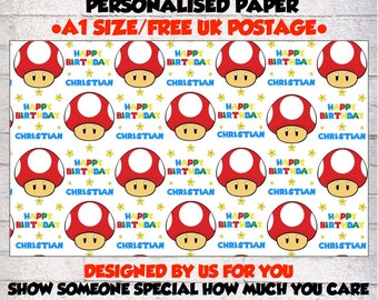 Personalised Super Mario inspired  Wrapping Paper & 2 tags