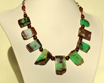 Australian Chrysoprase and Copper Necklace