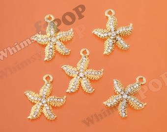 Gold Tone Crystal Rhinestone Starfish Pendant Charm, Starfish Alloy Charms, Starfish Pendants, 25mm x 20mm (R10-007)