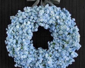 Light Blue Ruffle Flower Spring Summer Front Door Wreath - 24 inch diameter
