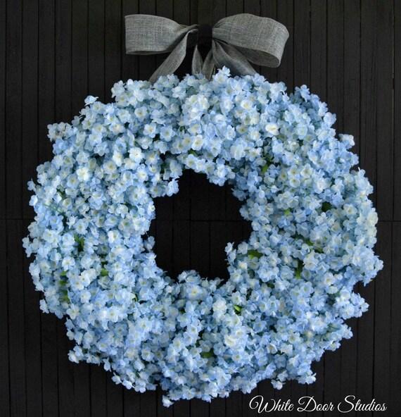 Light Blue Ruffle Flower Spring Summer Front Door Wreath
