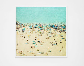 Grande plage aérienne photographie d'Art mur / / plage personnes photographie / / plage de Coney Island Print / / impressions de la grande plage, plage les gens imprimer