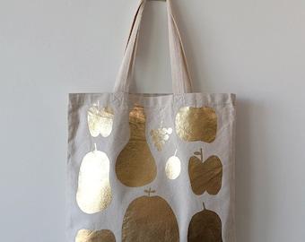 Gold Fruits Natural Canvas Tote Bag