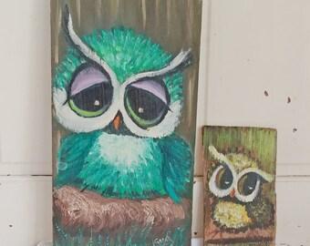 Vintage Hand-painted Owl Wall Hangings
