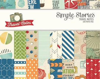 6x8 paper pad Patterned paper Travel Notes paper from Travel Notes Collection Simple Stories Double-sided paper Papers Scrapbook Mini-album