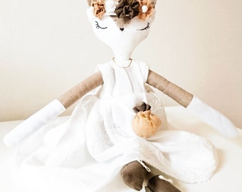 ISATIS beige Fox. Doll Fox about 30 cm. France