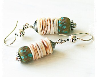Turquoise Blue Lampwork and Shell Earrings Rustic Bohemian Matching Set Jewelry Ocean Inspired Earrings Shell Earrings Urban Primitive