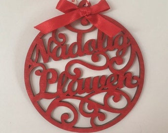 Wooden Nadolig Llawen Chistmas Decoration, Welsh Christmas Tree Ornament, Red Tree ornaments, christmas tree decoration,