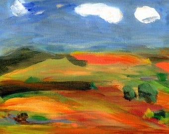 Woven Landscape III //  original  /   painting  /  one of a kind painting on a canvas panel  / cloudy sky  one long cloud