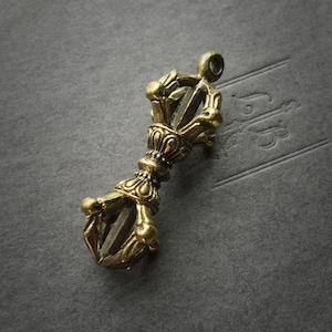 Vajra pendant etsy large dorje pendant focal 44mm gold tone brass antique brass vajra pendant one piece mozeypictures Gallery