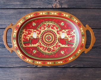 Hand Painted Wooden decorative dish. Russian folk art.