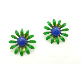 Enamel Kelly Green and YBlue  Flower Clip Earrings Retro Groovy Shabby Chic
