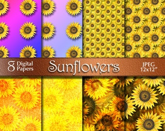 Autumn Sunflowers Digital Paper from Acrylic Painting | Digital Download | Scrapbooking Paper | Orange Yellow Rainbow | Paper Crafts