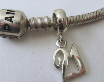 Genuine SOLID 925 STERLING SILVER Charm Bead with Solid Silver 21th drop