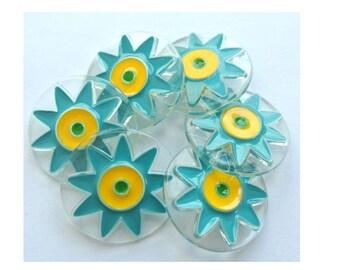 6 Buttons plastic colorful flowers, unique, 30mm