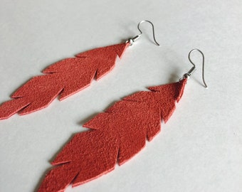 Simple red/burnt orange leather feather earrings, feather earrings, leather earrings