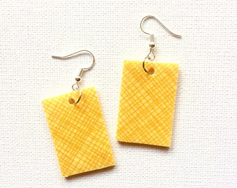 Drop 'fly' earrings. Recycled Fabric. Bright colourful eclectic one of a kind. Dangle. Yellow. Stripes. Rectangle.
