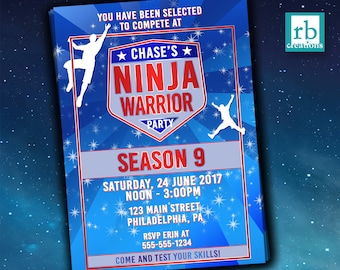 Ninja Warrior Party, Ninja Warrior Invitation, ANW Birthday Party, Ninja Warrior Invitation - Digital Printables