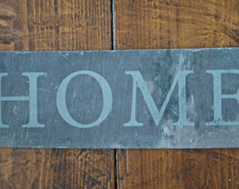 HOME typographic welsh slate, house sign, home sign, new home gift