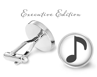 Music Note Cufflinks - Music Cuff Links - Musician Cufflink (Pair) Lifetime Guarantee (S1022)