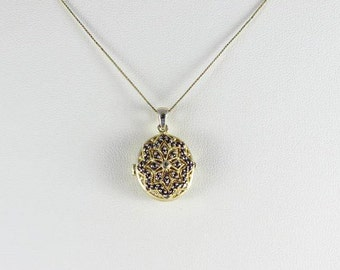 Gold over Sterling Silver Marcasite Locket Necklace 18 inch chain