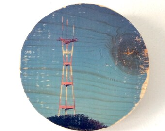 """Blue Sky Sutro Tower - 5"""" Round Distressed Photo Transfer on Wood"""