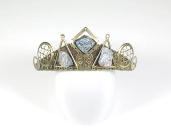 Apatite and Gold Filigree Tiara - Queen of the Ruins Collection - by Loschy Designs