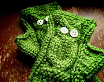 Custom Knit Fingerless Owl Mittens - Texting Gloves - Choose Your Colour