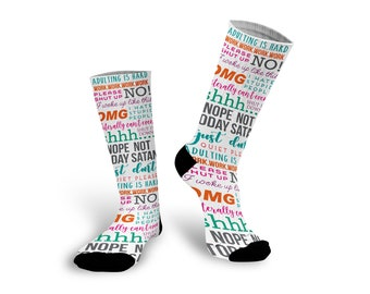 Funny Socks, Adulting, Nap Queen, Custom Socks, Socks, Personalized Socks, Picture Socks, Photo Gift, Custom Photo Socks --62179-SOX1-603