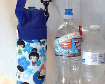 Insulated tote for 16 - 25 oz. (half liter to 750ml) containers Japanese Kokeshi dolls