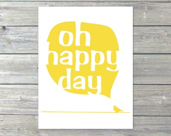Oh Happy Day Bird Digital Art Print - Power line - Text Bubble - Typography - Lemon Yellow Decor