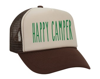 Happy Camper Hat, Camping Baseball Hat, Summer Camp Baseball Cap Unisex Trucker Hat, Camping Outdoors Family Hats For Kids for Men For Women