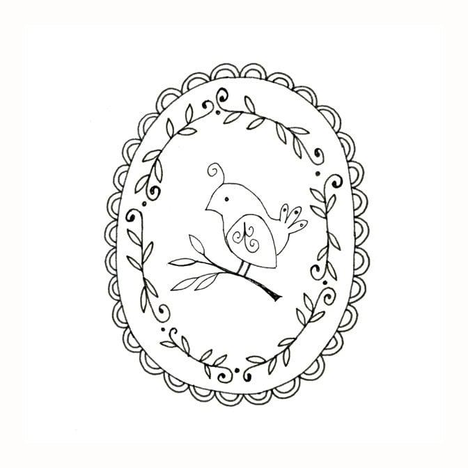 Bird Embroidery Pattern Woodland Animal Printable Digital