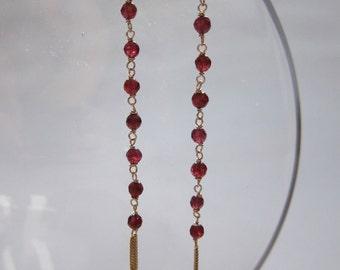 chain link garnet and fringe earrings