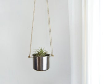 Stainless Steel Hanging Planter / Vintage Metallic Silver Pot and Raw Jute Twine / Air Plant and Succulent / Modern & Minimalist Home Decor