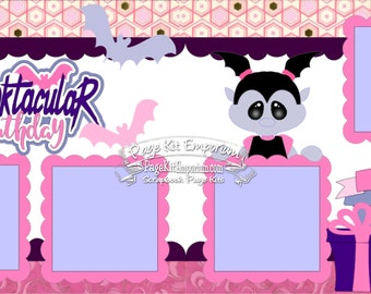 Scrapbook Page Kit Spooktacular Birthday Vampire Girl 2 page Scrapbook Layout Kit 147a