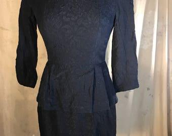 designer nanette lepore bergdorf goodman vintage 1980s navy dress long sleeve short