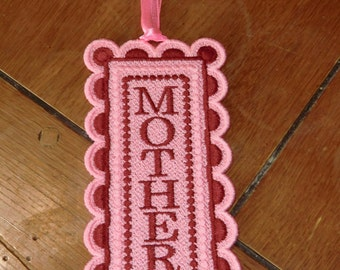 "Embroidered Bookmark  - ""Mother"""